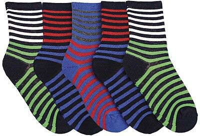 Modern Casuals Boys 5 Pairs Striped Cotton Rich Socks 2
