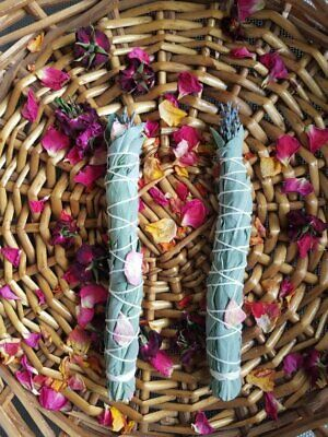 Smudge Stick *Handmade *White Sage,Rosemary,Lavender & Rose *Cleansing *Soothing 2