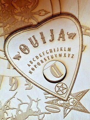 Wooden Ouija Board & Planchette w/ Aleister Crowley Symbols Engraved On Wood 3