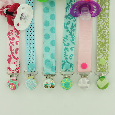 10 Enamel Pacifier Clips/ Suspender Clip 1 INCH Round Metal Dummy/Paci Holder