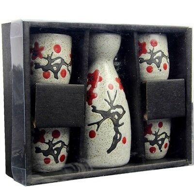 Japanese Traditional Sakura Patterned 5 Piece Sake Set 1 Bottle 4 Cups Gift Box 10
