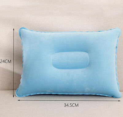 1*Outdoor Travel Folding Air Inflatable Pillow Flocking Cushion for Office Plane 6