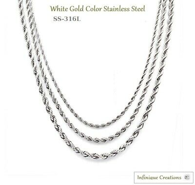 Men Women 316L Stainless Steel Silver Rope Chain Necklace Bracelet 2mm to 8mm 2