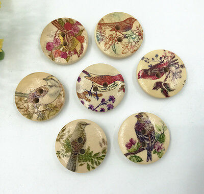 100pcs Mixed Colors Round Wooden Buttons Fit Sewing or Scrapbooking 20mm Pnk232