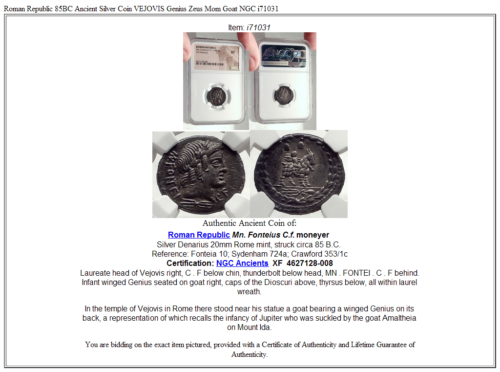Roman Republic 85BC Ancient Silver Coin VEJOVIS Genius Zeus Mom Goat NGC i71031 5