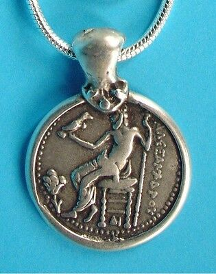 Alexander Tetradrachm Pendant on Chain in Silver on Fine Pewter