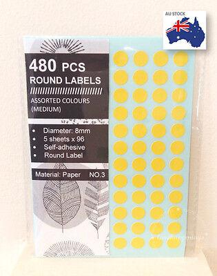 480 Pcs Assorted Colour Code Round Sticker Circle Label Dots Spots coloured 8mm 2