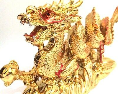 NEW LARGE GOLD Chinese Feng Shui Dragon Figurine Statue for Luck & Success 4