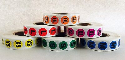 6,000 Clothing Size Stickers Color Coded Adhesive Labels Sizes XS-XXL Apparel