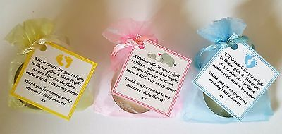 Baby Shower Candle Tea Light Favours Blue Pink Yellow Guest Thank You Gifts 5