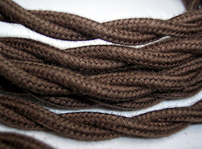 Dark Brown Cloth Covered Wire Vintage Rewire Kit Lamp Cord Fan Antique Restore 5