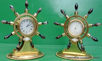 Howell James & Co Antique Ormolu Maritime Marine Navel Agate Clock Barometer 2