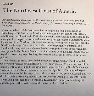 """Antique vintage old colour map Northwest Coast America 1700's: 12 X 9"""" Reprint"""