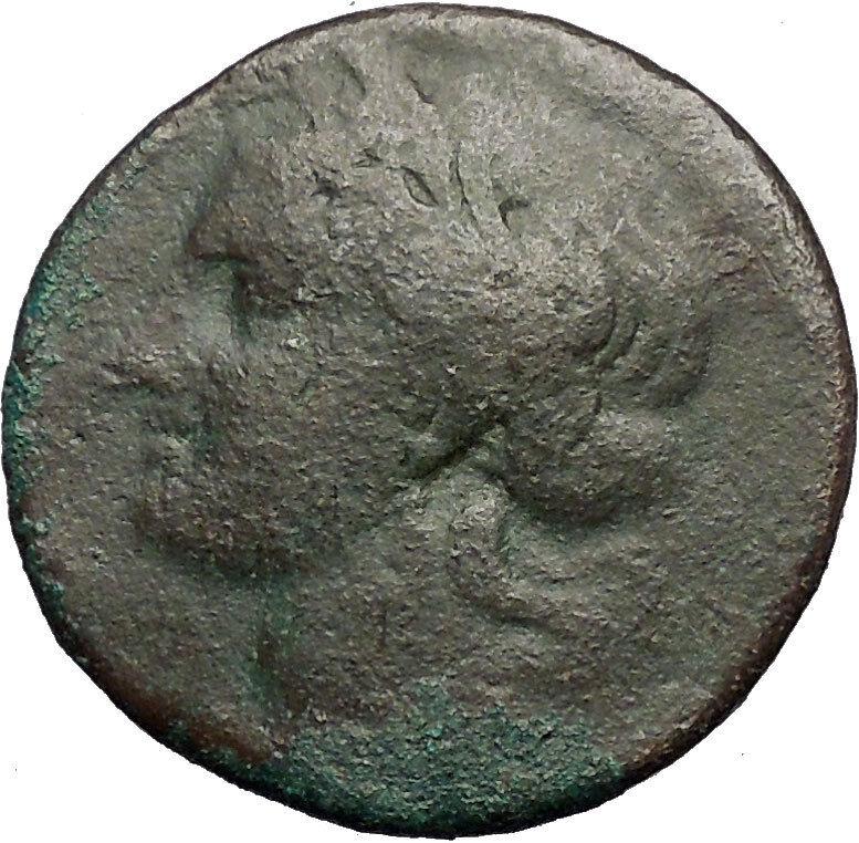 CARTHAGE ZEUGITANA 201BC Tanit Horse LARGE 3 Shekels Ancient Greek Coin i56323 2