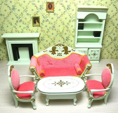 1/12 Dolls House Miniature Bedroom Kitchen Living Room Furniture Set Bed Cabinet 5