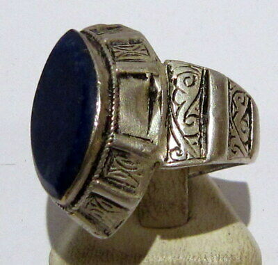 Post Medieval Silver Ring With Nice Engraving And Lapis Lazuli On The Top # 465 5