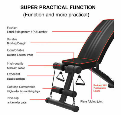 Adjustable Fitness Weight Bench Multi Gym Dumbbell Folding Flat Incline Decline 6