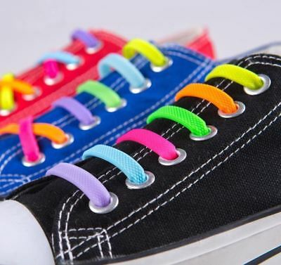 Elastic Silicone No Tie 'Lazy' Shoe Laces Shoelaces Trainers Shoes Adult & Kids❤ 2