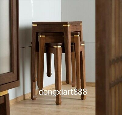 Brass Black walnut solid wood furniture Wooden dining room square High stool 7