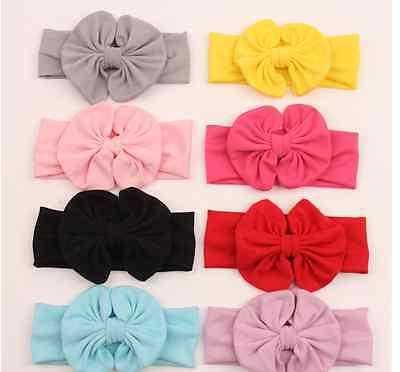 Big Bow Cotton Girls Babies Headband Fabric Flower Stunning Unusual Hairband 2