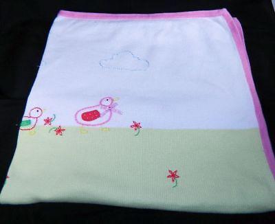 Talbots Kids Green & White Ducks Baby Blanket 100% Cotton 3