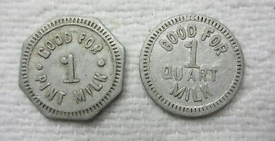 WESLEYVILLE PA ~ H 2 MILK DAIRY CHIT TOKEN WAGNER GF ONE PINT /& ONE QUART E