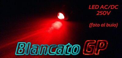"""SPIA LED BLU 220V AC METALLO /""""TONDO/"""" 8mm corrente alternata casa illuminazione"""