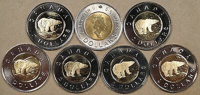 Canada 1998,2000,00,00W,01,02,+04 Two Dollars PL Except 1st 2000 as Pictured