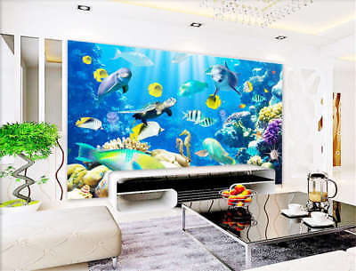 Concise Pure Fishes 3D Full Wall Mural Photo Wallpaper Printing Home Kids Decor