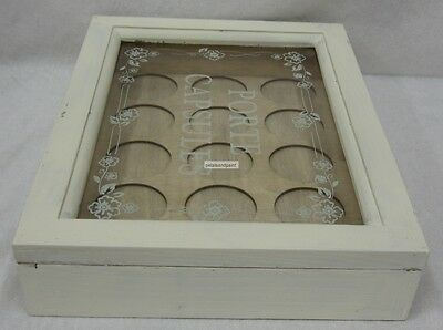 Rustic French Provincial Distressed Antique Cream Wooden Box For Coffee Pod Pods 4