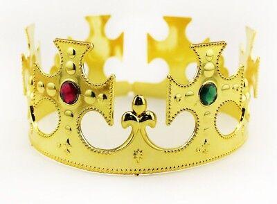Gold Royalty Plastic king Queen Crown Princess Tiara Prince Crown Costume 6