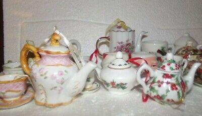 Ceramic Teapot Cup Saucer Figurine Christmas Tree Ornament Decoration LOT OF 17 11