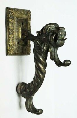 Rare old bronze monster head myth animal door knocker 8' / 20cm 2
