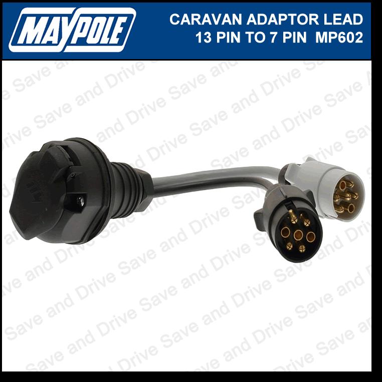 Maypole 7 Pin to 13 Pin Plug Caravan Towing Adaptor Lead 12N/12S Electrics MP602 2