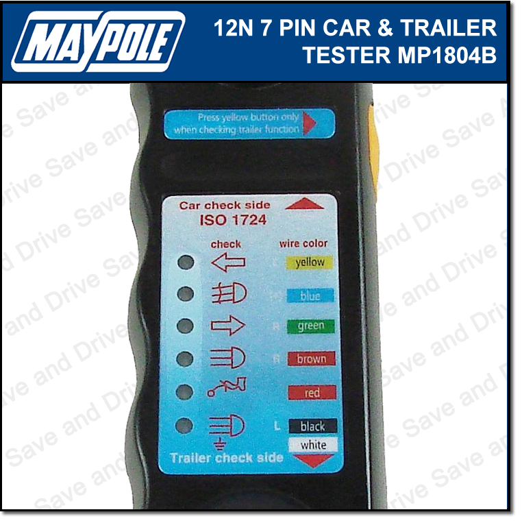 Maypole Towbar & Trailer Wiring Tester Towing Electrics Lights 7 Pin 12N MP1804B 3