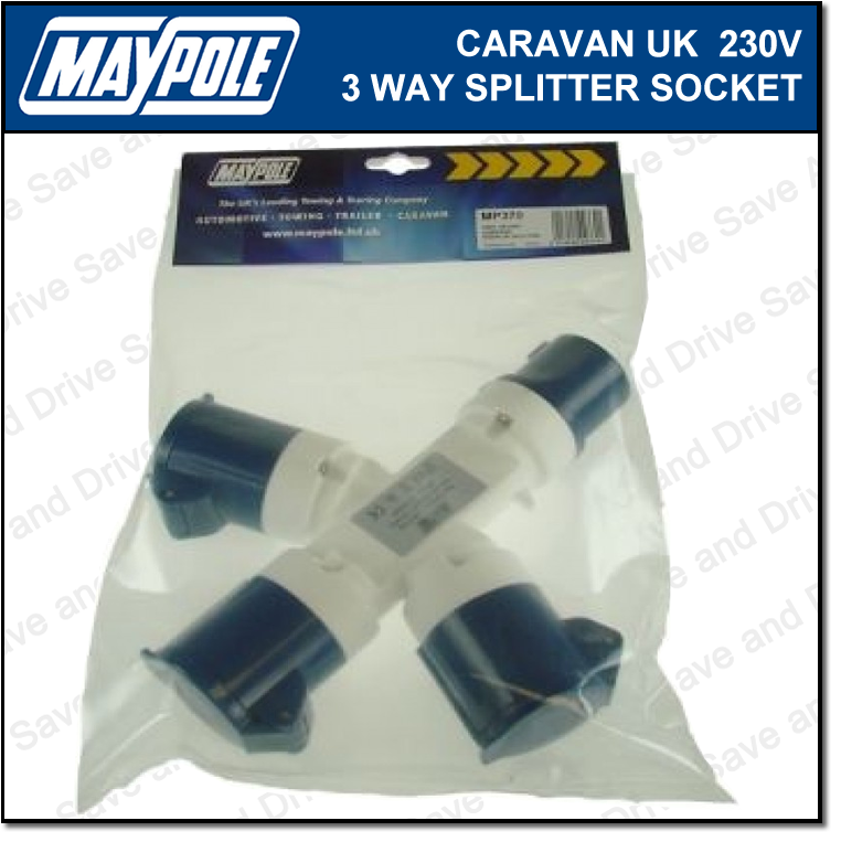 Maypole Caravan 230V 16A UK 3 Way Hook Up Splitter Socket Electrics MP370