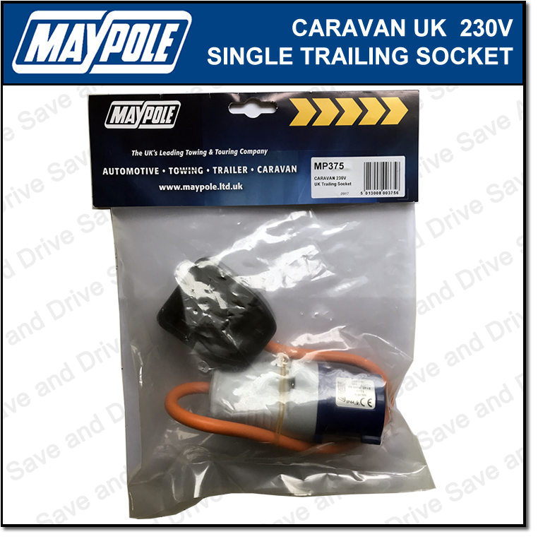 Maypole Caravan 230V 13A UK Hook Up Single Trailing Socket Lead Electrics MP375