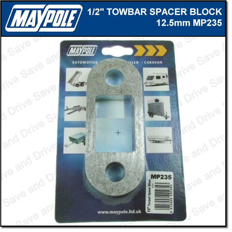 Maypole Towbar 1/2 Inch Spacer Block Towing Trailer Caravan Towball 1.25cm MP235 3