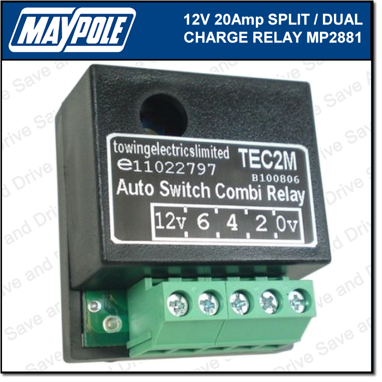 Maypole 12V 20Amp Dual Charge Split Relay Towing Trailer Caravan Towbar MP2881 2