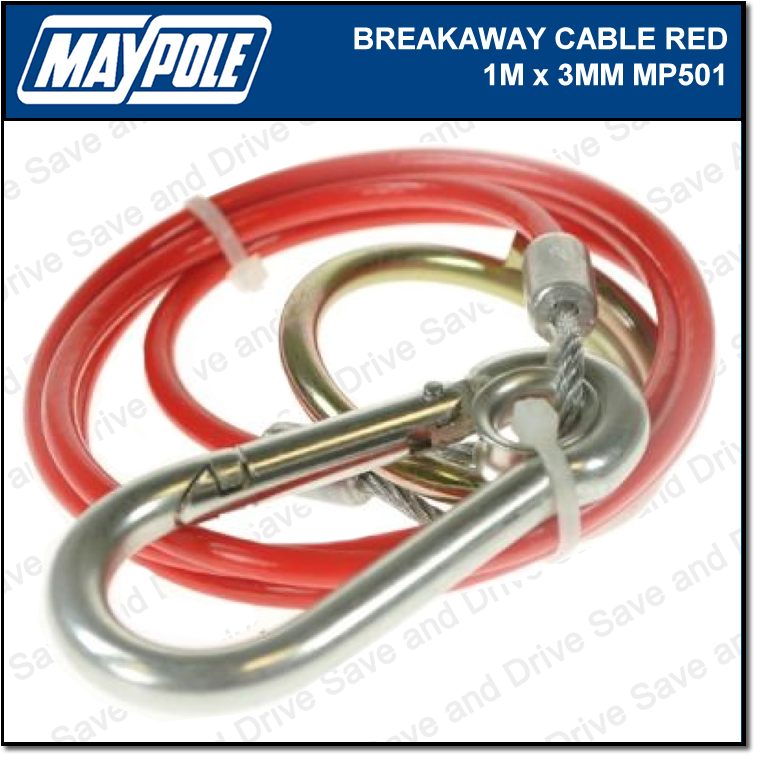 Maypole Breakaway Safety Cable Red 1M x 3MM Towing Trailer Caravan Towbar MP501 2