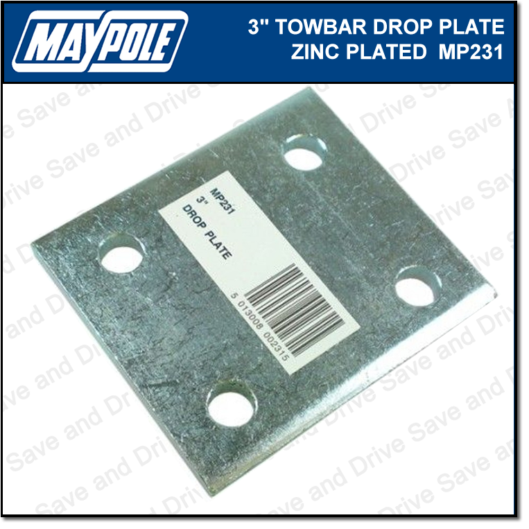 "Maypole Towball 3"" Inch Zinc Drop Plate Towbar Towing Trailer Caravan MP231 2"
