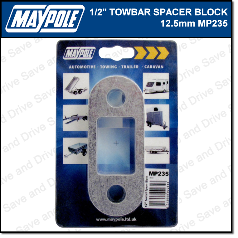 Maypole Towbar 1/2 Inch Spacer Block Towing Trailer Caravan Towball 1.25cm MP235 2