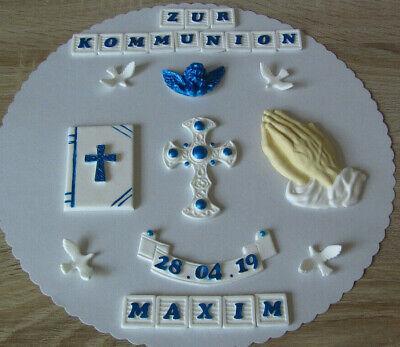 Kommunion Konfirmation Taufe Firmung Tortenaufleger Tortendeko Fondant Torte 3