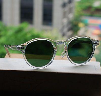 486068c3489 ... Retro Vintage Johnny Depp sunglasses round crystal frame green glass  lens unisex 4