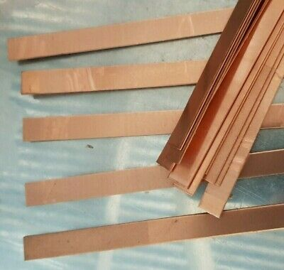 Copper strip 1 mm x 20 mm x 30 cm plastic peelaway mirror side  99.99% pure 3