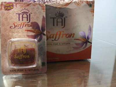 0.5gm Taj Saffron Brand Pure Finest Golden Stigma Kashmiri Kesar High Quality