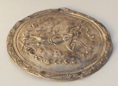 Pompous Post Medieval Silver Plated Angel Applique # 832