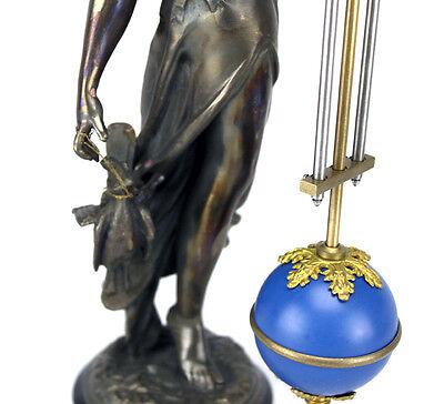 Beautiful Ansonia Cut 8 Day Movement Brass Huntress Lady Mystery Swinger Clock 9