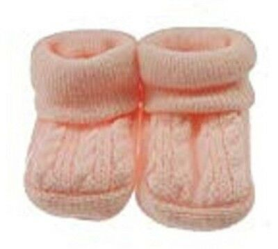 New Baby Babies Boy Girl Knitted Booties White Pink Blue Cream Size NB-3M Shoes 3