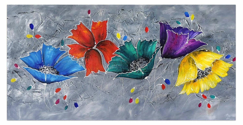 Acryl Gemälde 'COULEUR IM GRAPHIT' | HANDGEMALT | Leinwand Bilder 140x70cm 6